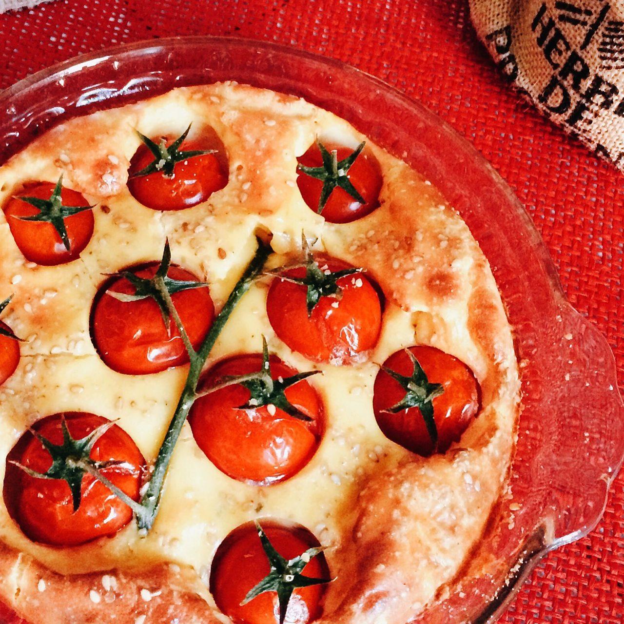 Clafoutis ai pomodorini con erbe di provenza