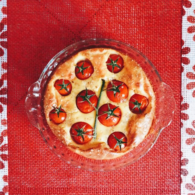 Clafoutis ai pomodorini cotta