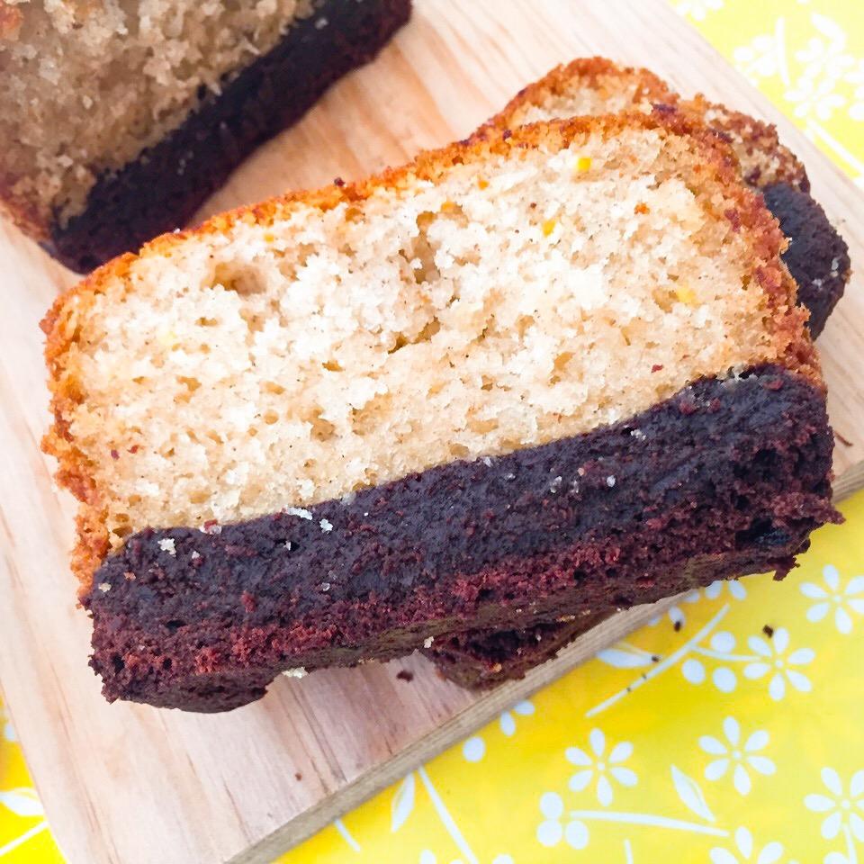 Brownies Plumcake fette da primo piano