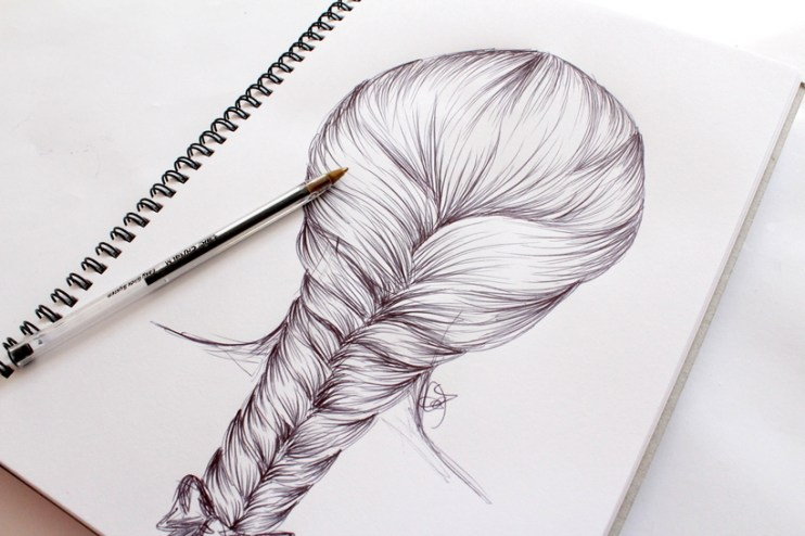 draw hair braid step