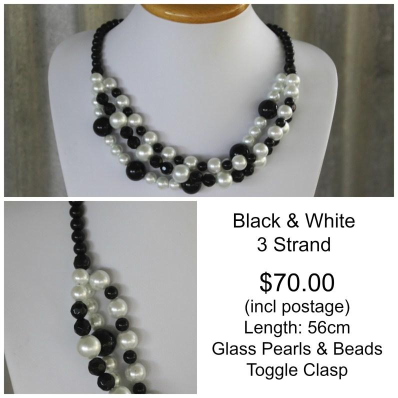 Black & White 3 Strand Glass Pearl