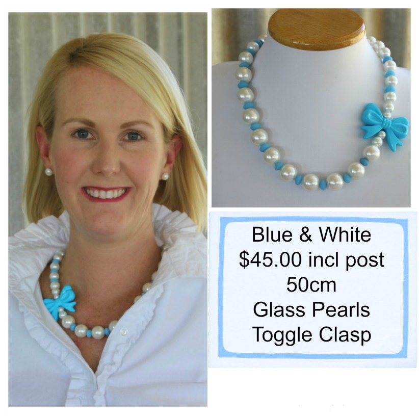 Blue & White with Bow Necklace