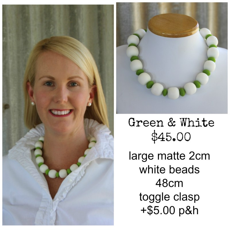 Large Green & White necklace