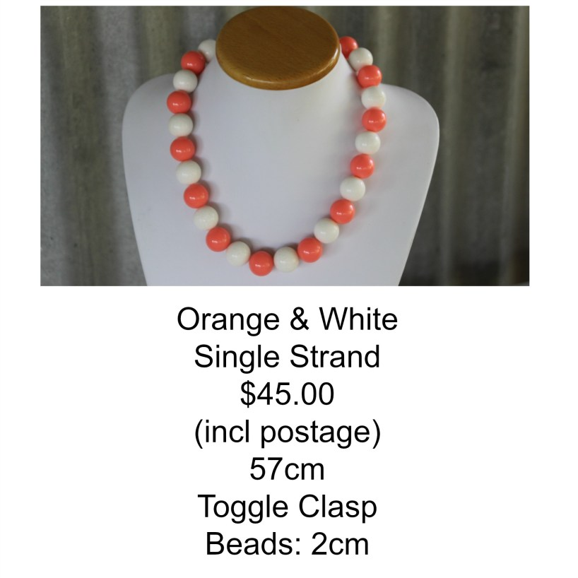 Orange & White Single Strand Necklace