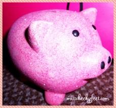 Pink Glitter Piggy Bank