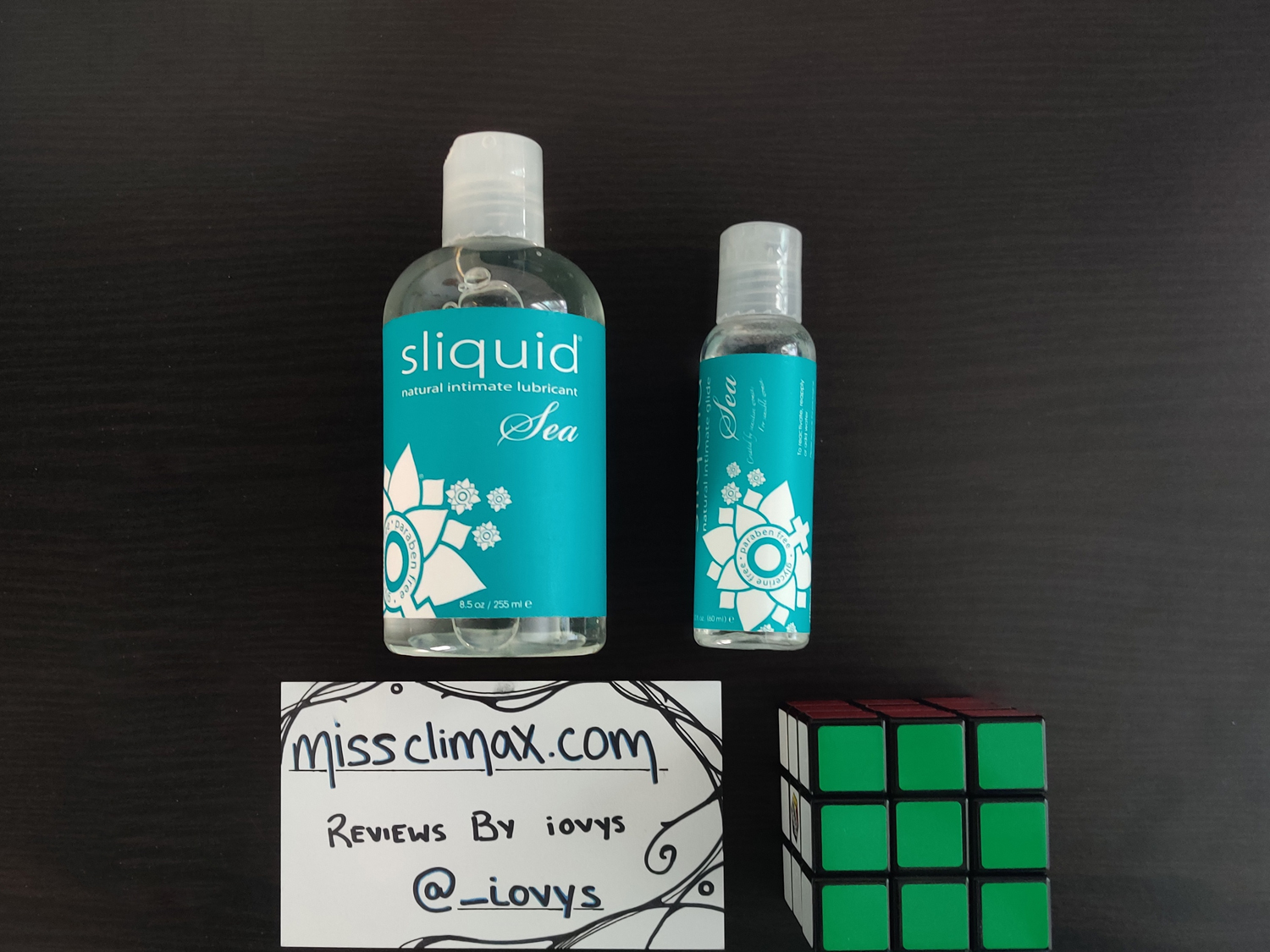 Sliquid Sea next to my Rubik's cube & card for size comparison