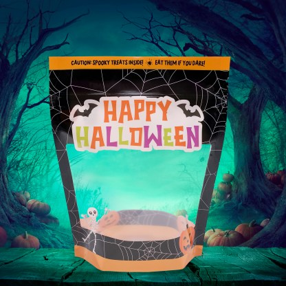 Photo of the Happy Halloween Cookie Pouch on a spooky background