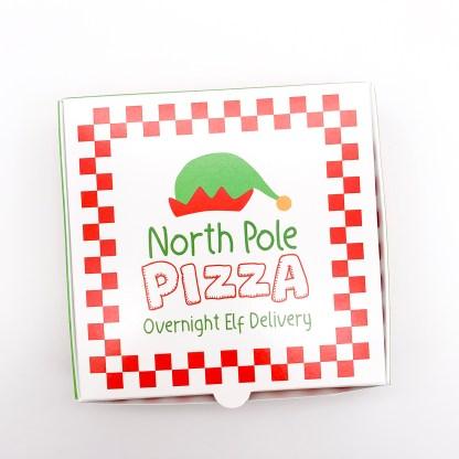 North Pole PIzza Co Overnight Elf Delivery Cookie Pizza Box