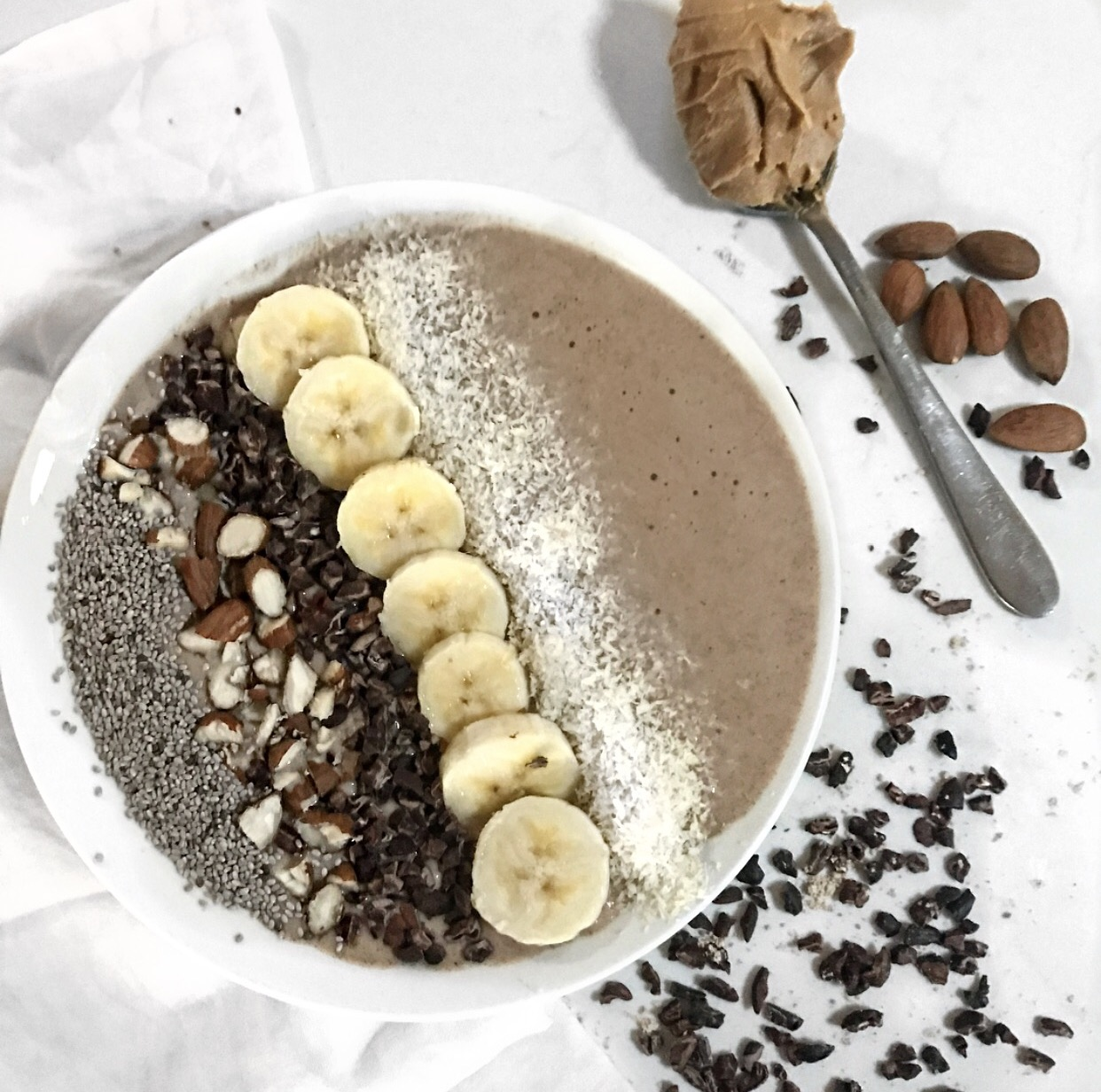 Peanut Butter Choc Protein Smoothie Bowl