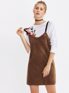 Metal Triangle Detail Corduroy Overall Dress