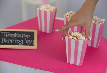 Pink and White Striped Popcorn Boxes