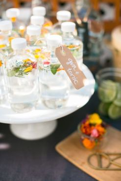 Love these earthy pre-made Gin and Tonic bottles as a welcome drink for guests!
