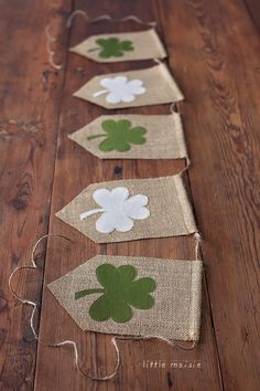 Traditional burlap bunting with Irish inspired four leaf clover patterns!