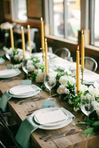 Irish inspired tablescape using emeralds and gold with fresh florals!