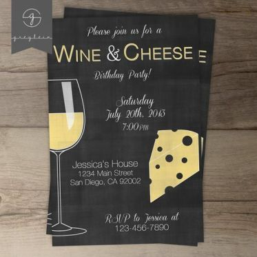 hygge invitation to wine and cheese night