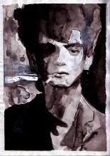 "Portrait of Robert Mapplethorpe 2015 watercolor on paper 7.15 x 10.05 """