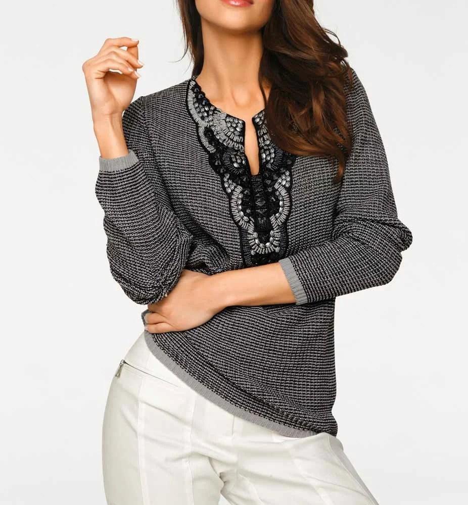 002.219 ASHLEY BROOKE Damen Designer-Grobstrickpullover m. Perlen Grau Elegant NEU