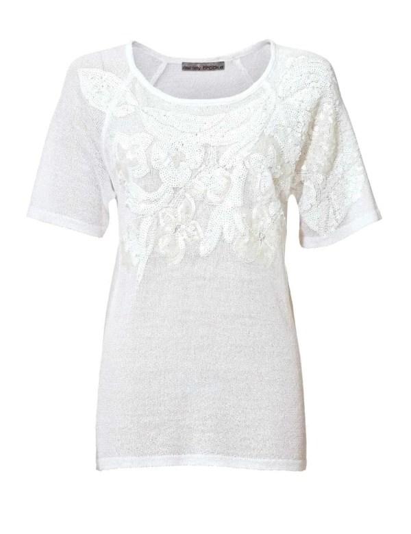 004.336 ASHLEY BROOKE Damen Designer-Pullover m Pailletten Weiß