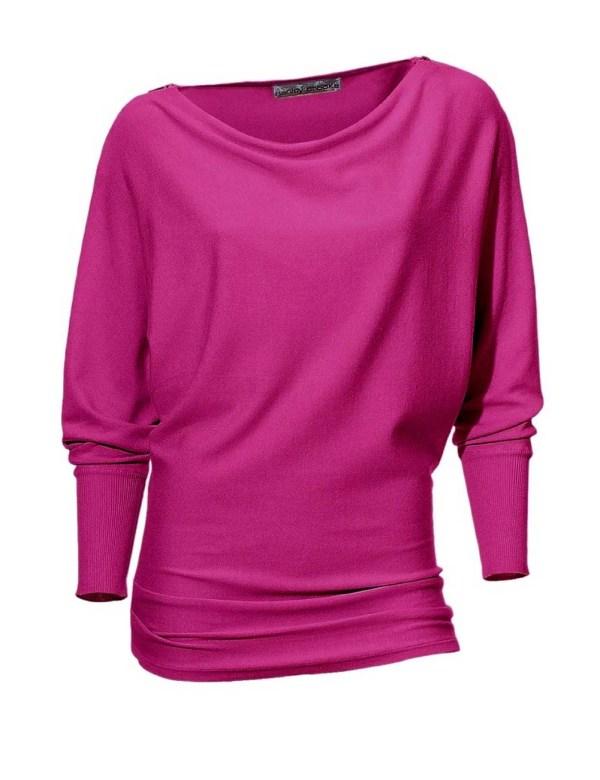007.844 ASHLEY BROOKE Damen Designer-Reißverschlußpullover Pink Fledermausärmel