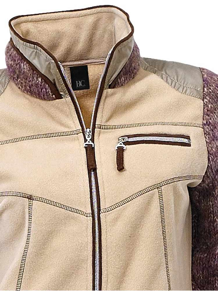 019.972 HEINE Damen Designer-Fleece-Strickjacke Sand-Rosa