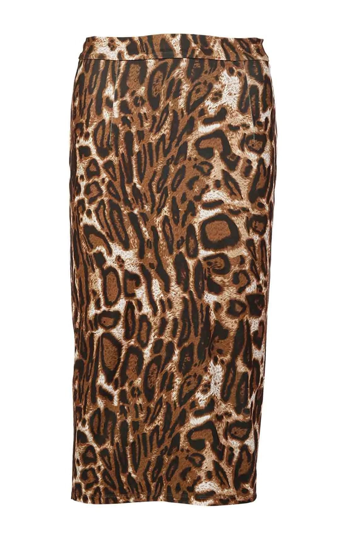 031.056 APART Damen Designer-Leomuster-Rock Cognac-Bunt