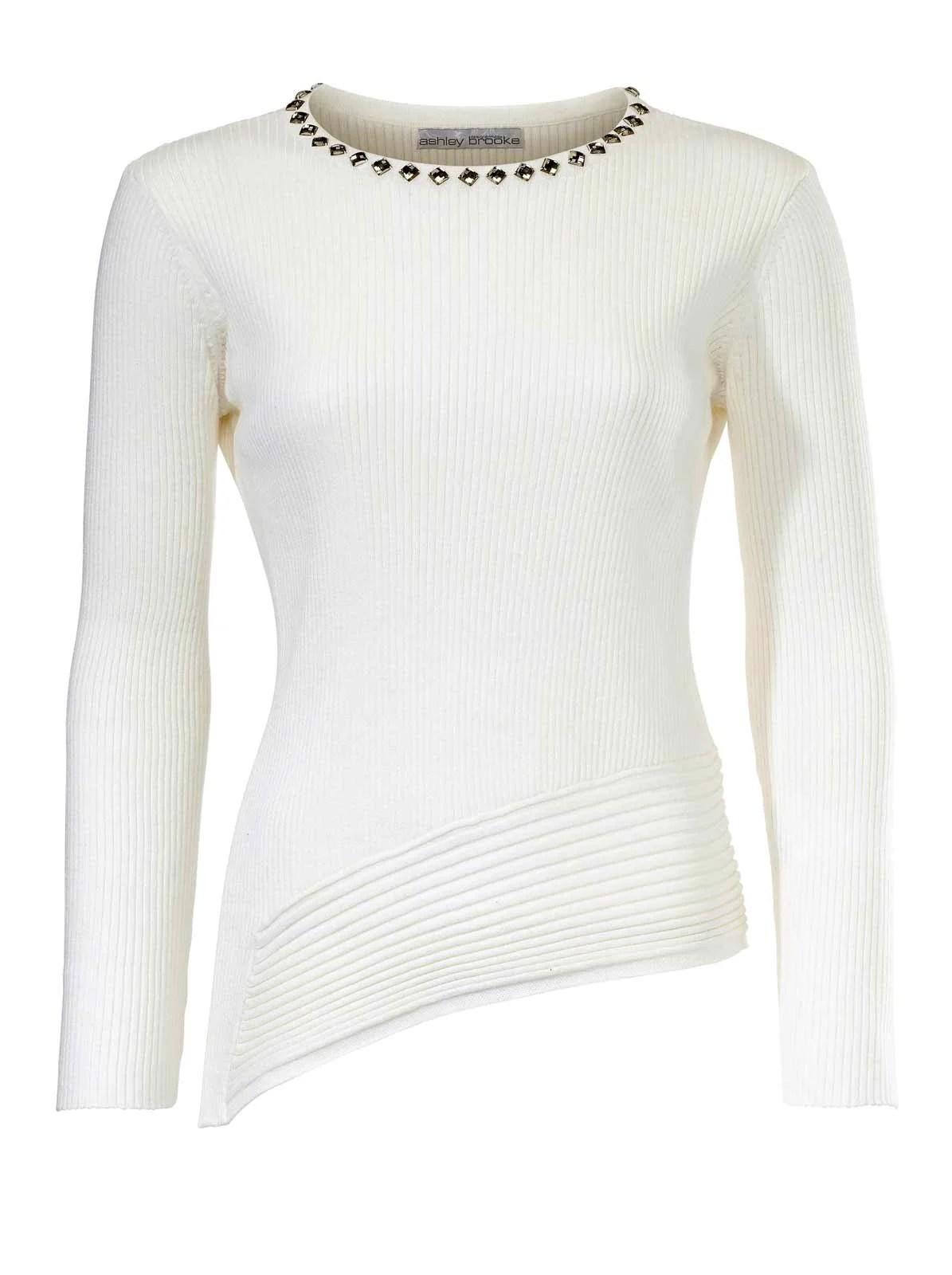 036.765 ASHLEY BROOKE Damen Designer-Pullover m. Strass Offwhite
