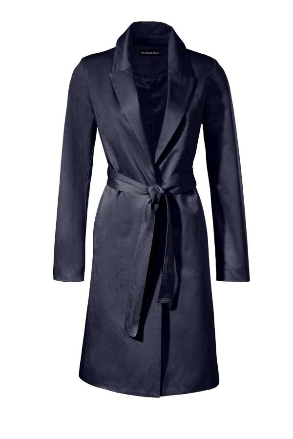 044.765 PATRIZIA DINI Damen Designer-Trenchcoat Mantel Bindegürtel Nachtblau Dunkelblau