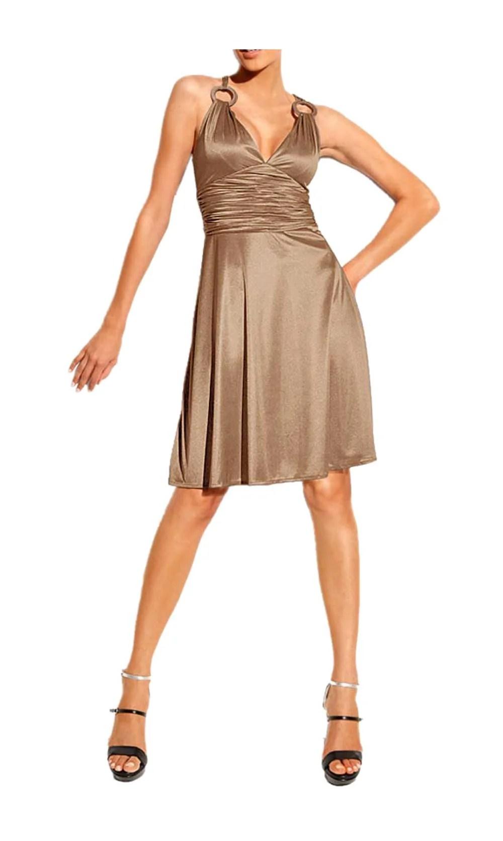 045.945 HEINE Damen Designer-Cocktailkleid Taupe