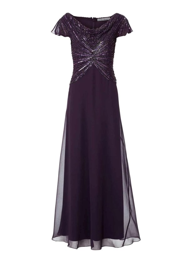 051.773 ASHLEY BROOKE Damen Designer-Abendkleid m. Perlen Pflaume