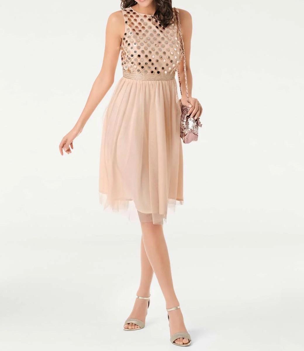 064.678 ASHLEY BROOKE Damen Designer-Cocktailkleid Apricot