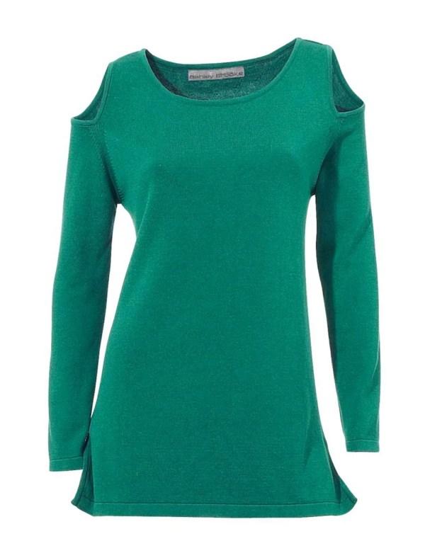 079.726 ASHLEY BROOKE Damen Designer-Pullover Lang Smaragd Grün Longform Cut Out TOP