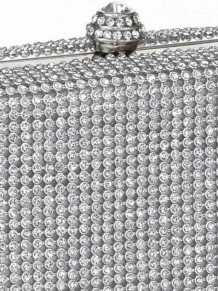 082.562 HEINE Damen Designer-Clutch m. Strasssteinen Silberfarben