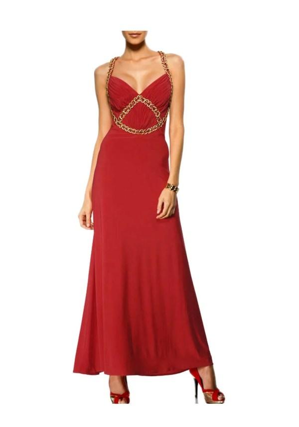 082.899 HEINE Damen Designer-Abendkleid Rot-Gold