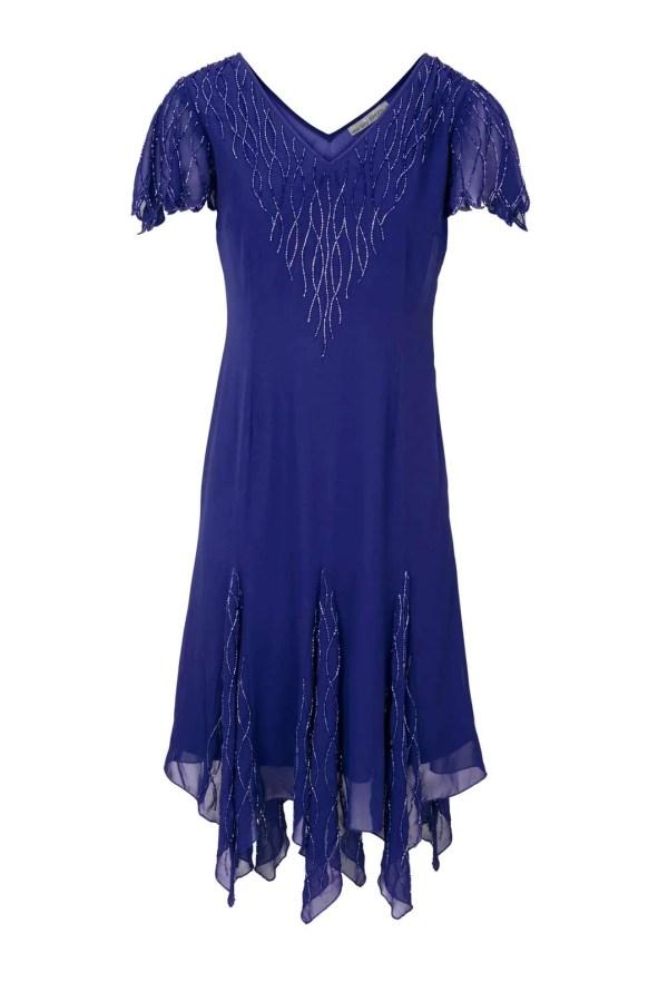 085.143 ASHLEY BROOKE Damen Designer-Cocktailkleid m. Perlen Blau