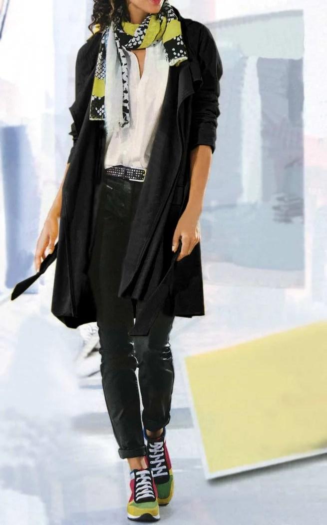089.459 HEINE Damen Designer-Trenchcoat Bindegürtel Jerseymantel Mantel Schwarz