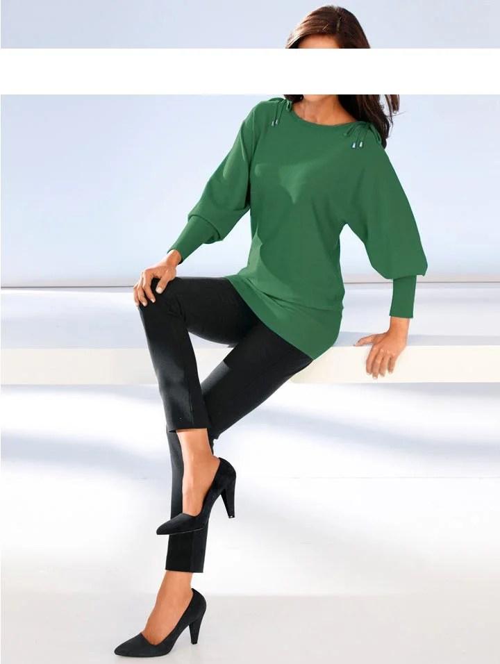 094.590 ASHLEY BROOKE Damen Designer-Pullover Smaragd
