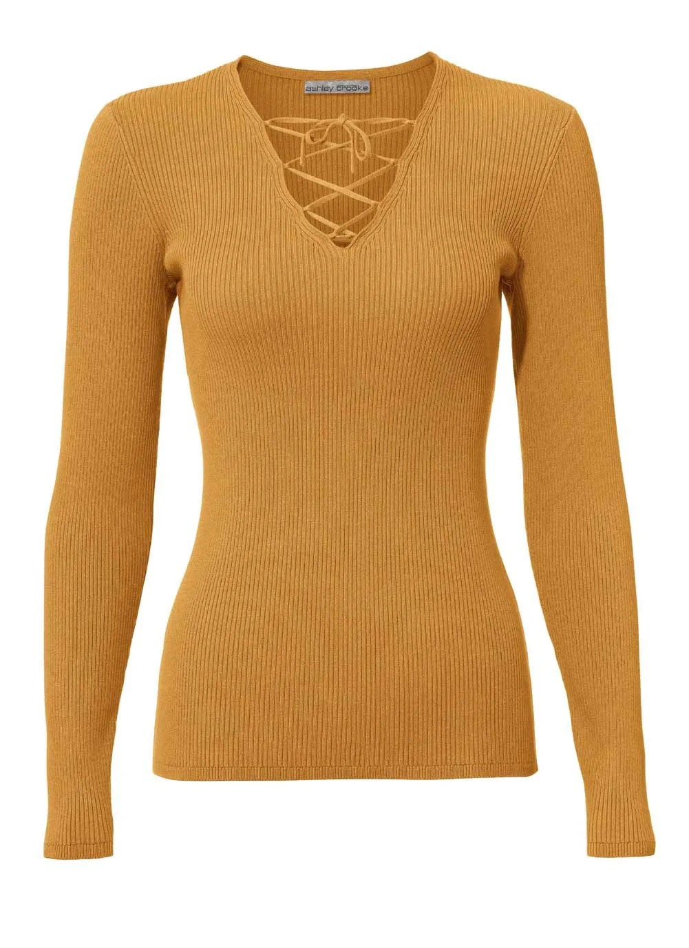 102.543 ASHLEY BROOKE Damen Designer-Rippenpullover Gelb