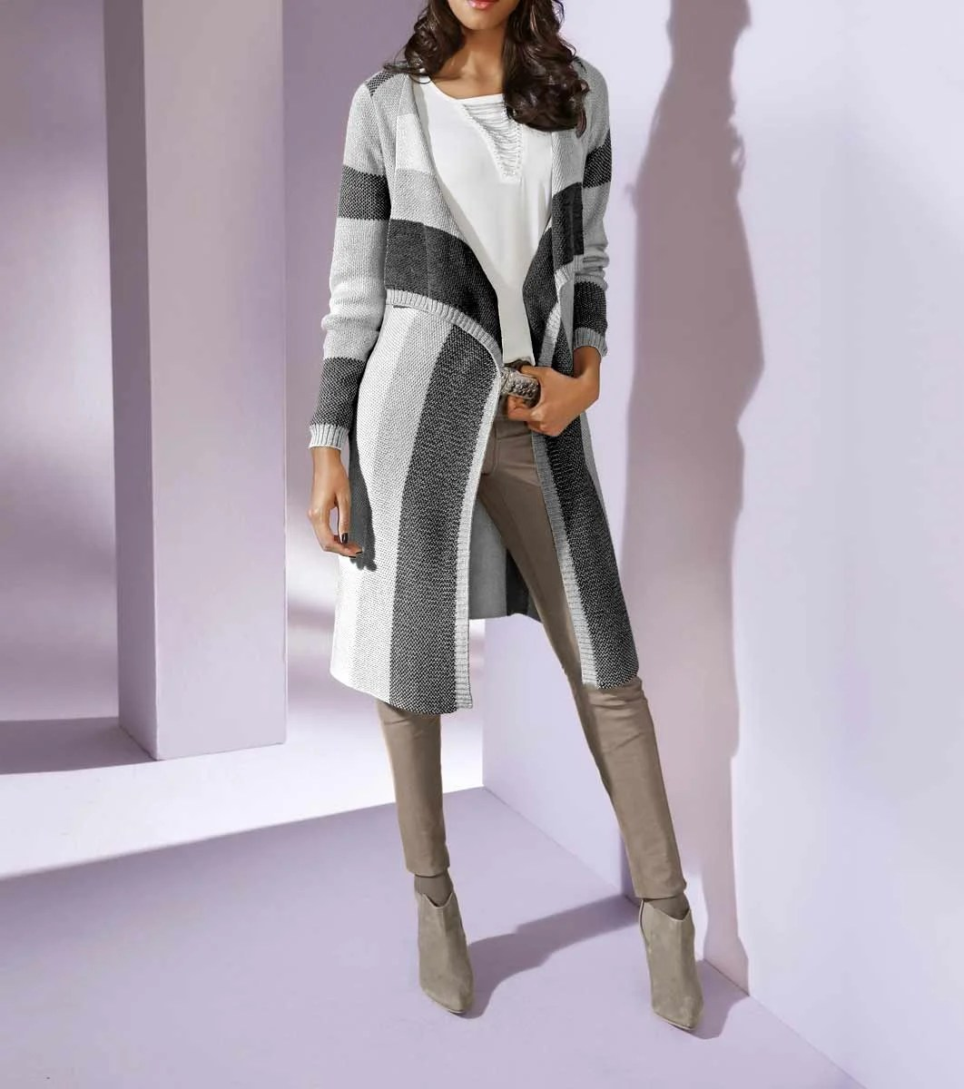 117.770 PATRIZIA DINI Damen Designer-Longstrickjacke Grau-Creme