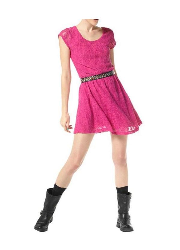 127.485 MATERIAL GIRL Madonna Damen-Spitzenkleid Minikleid Spitze Stretch Rockig Pink