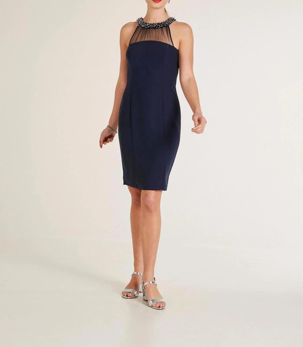 144.223 HEINE Damen Designer-Cocktailkleid m. Perlen Nachtblau