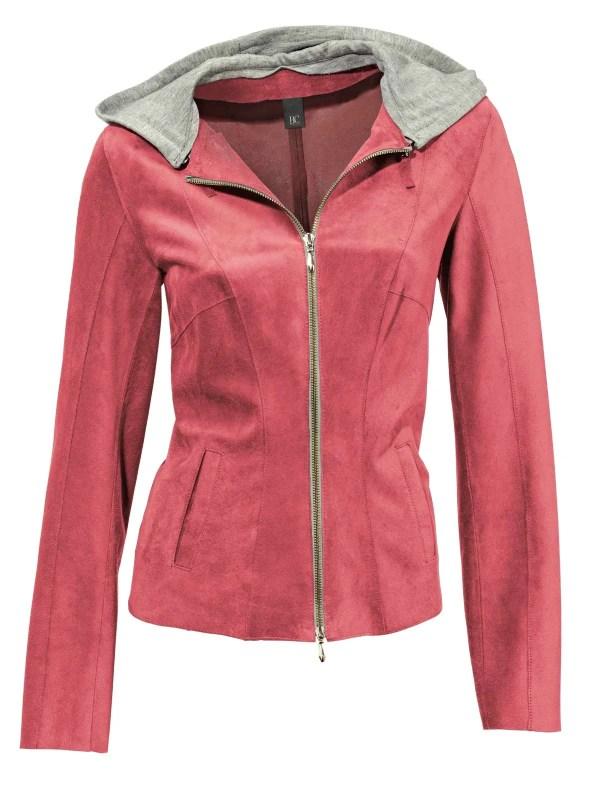 147.223 HEINE Damen Designer-HEINE Damen-Lederjacke m. Jerseykapuze Hummer