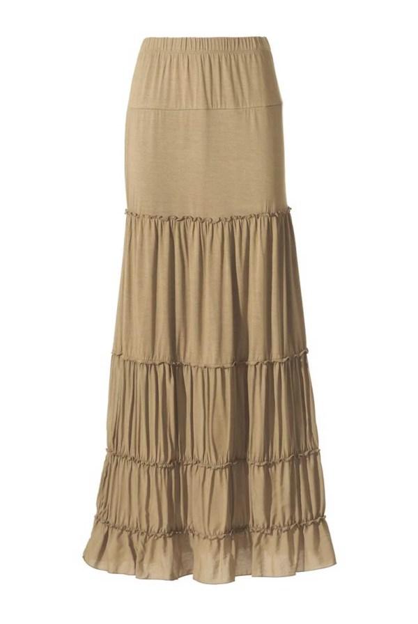 153.528 ASHLEY BROOKE Damen Designer-Maxirock Sand