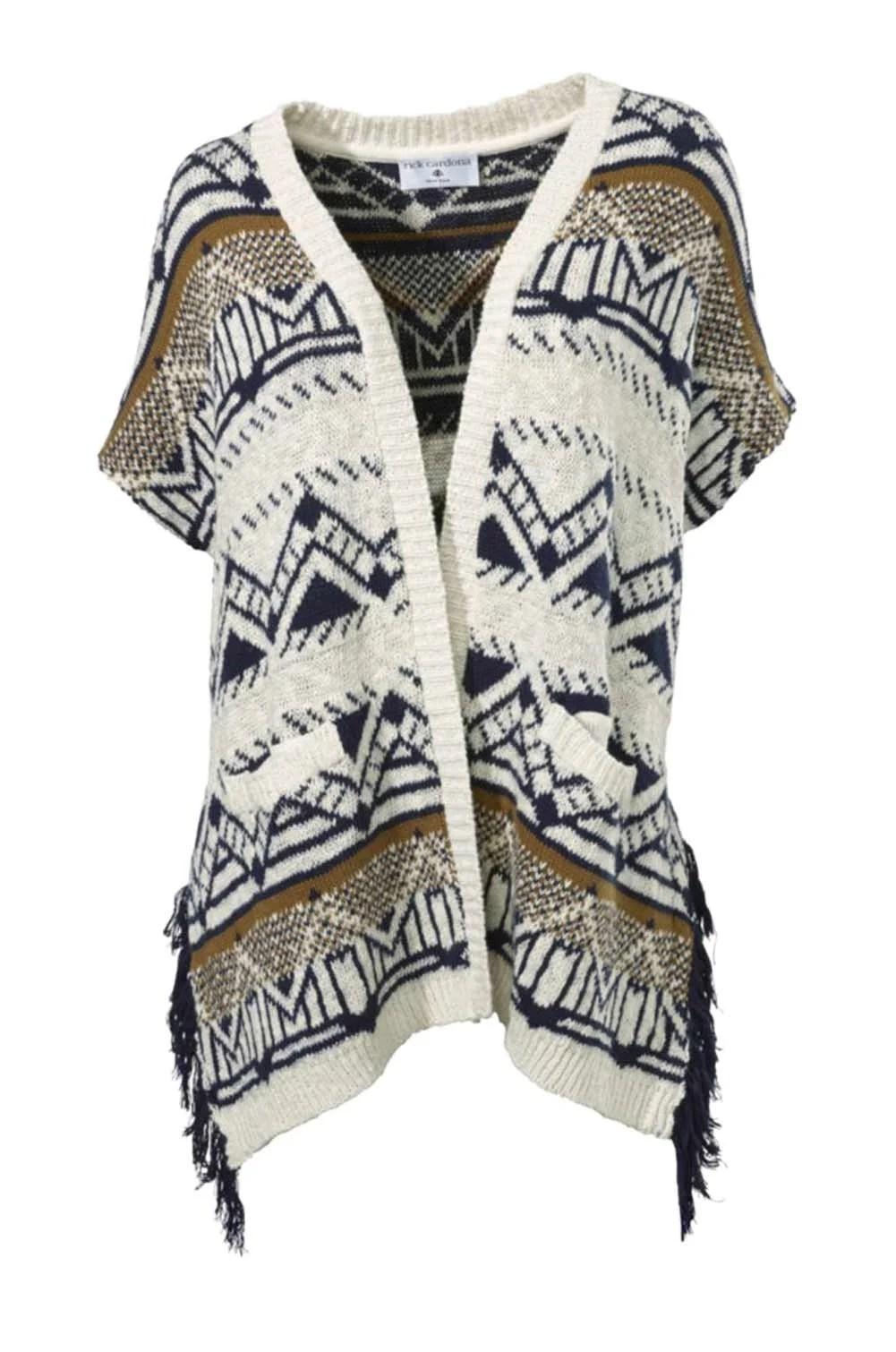 167.707 RICK CARDONA Damen Designer-Poncho Ecru-Bunt Cape Umhang