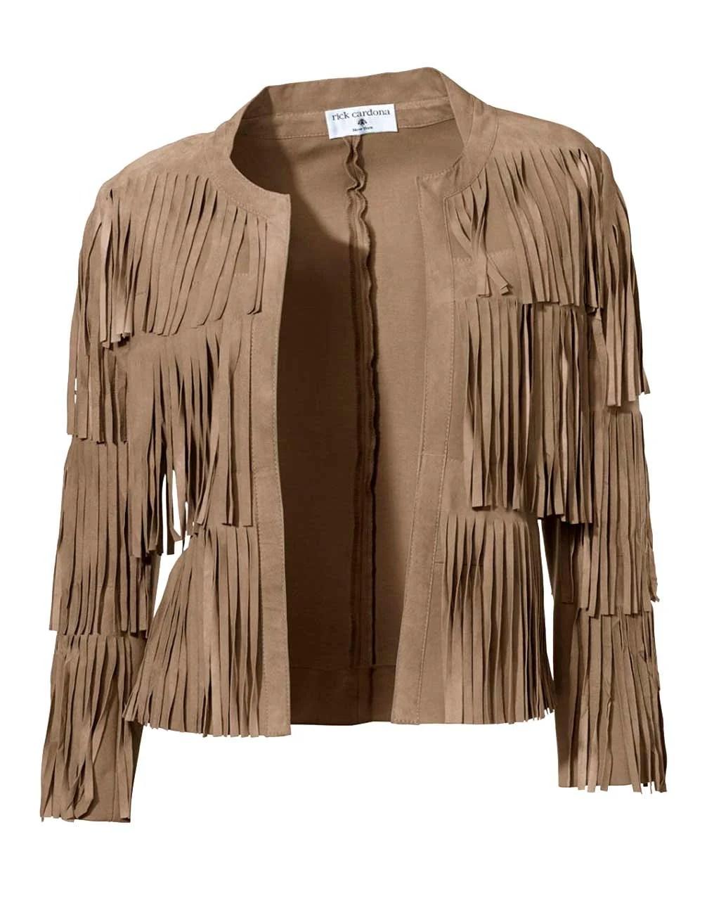 175.304 Rick Cardona Designer Damen-Fransenvelourslederjacke Lederacke Braun Cognac