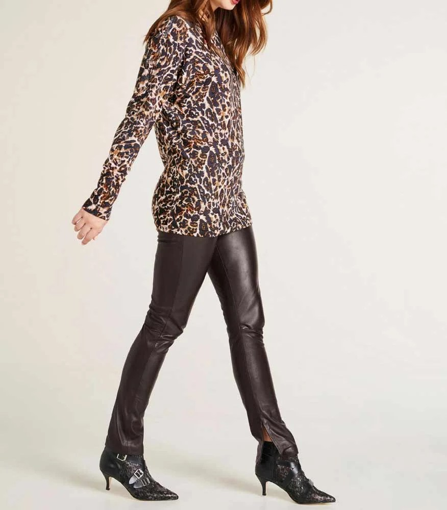 181.791 ASHLEY BROOKE Damen Designer-Oversized-Pullover Bunt Fledermausärmel Animalprint