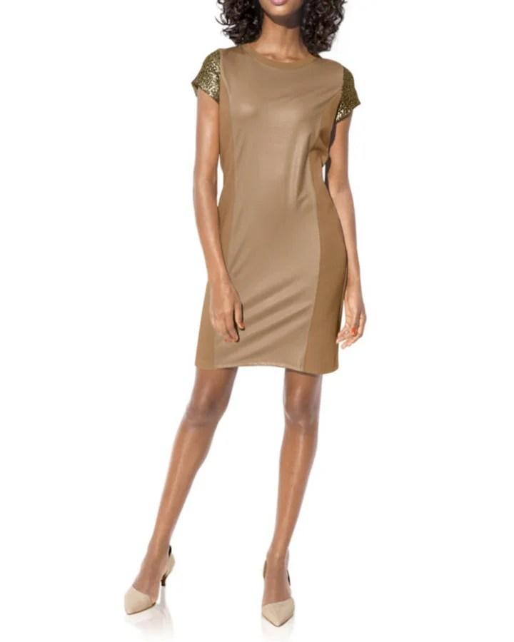190.248 HEINE Damen Designer-Etuikleid m. Pailletten Camel-Gold