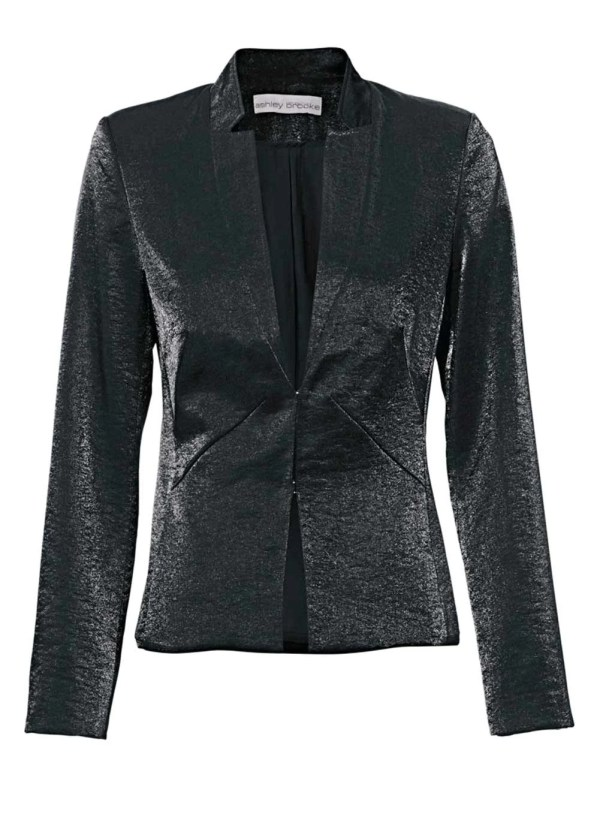192.741 Ashley Brooke Damen-Damenblazer Kurz Changeantblazer Schwarz Glänzend