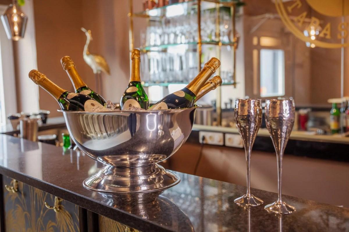 7745 Champagnerkühler Cara, Edelstahl hochglanzpoliert, Durchmesser 40 cm, Höhe 21 cm