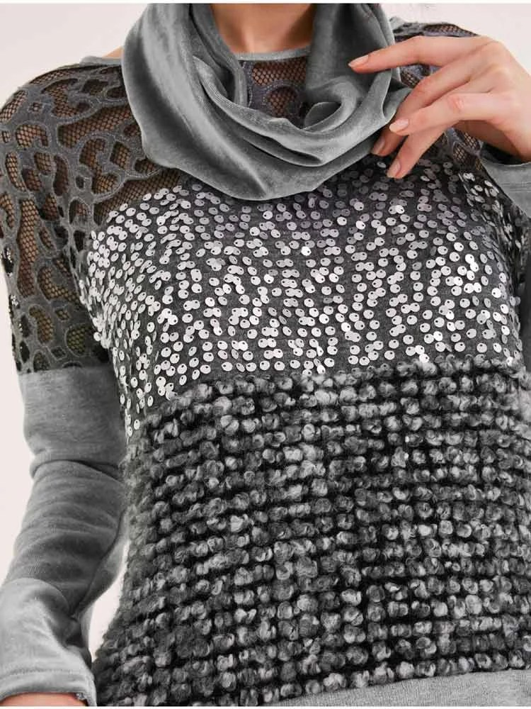 234.395 HEINE Damen Designer-Sweatshirt m. Samtschal Grau