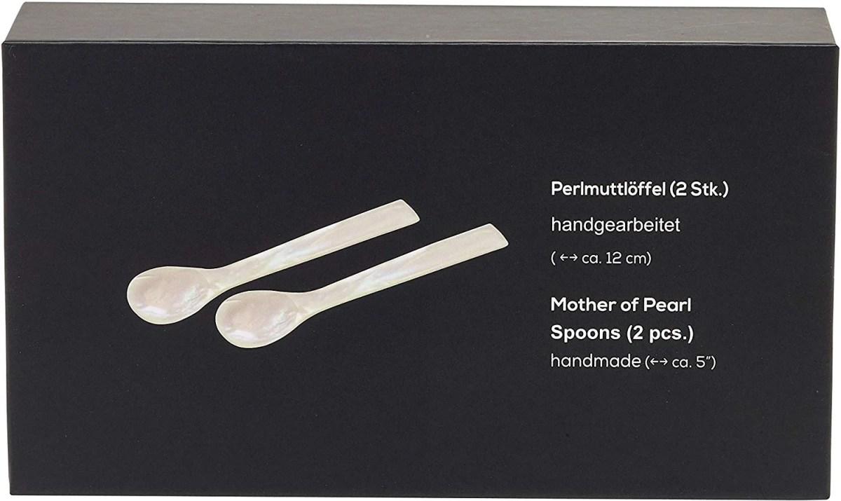 2370 Löffel 2er Set echtes Perlmutt Perlmuttlöffel Kaviarlöffel Oster Eierlöffel 12cm